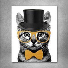 Mr Catsanova Nerdy Gentleman Cat Wall Art. Cute room decoration loved by teenagers. (birthday gifts for teen girls)