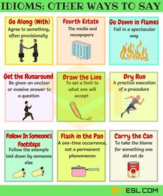 List of common idiomatic expressions and sayings in English with meaning, ESL pictures and examples. Learn these English idioms to help your English sound naturally like a native speaker. English Idioms, English Phrases, Learn English Words, English Study, English Lessons, Gcse English, Grammar And Vocabulary, English Vocabulary, English Language Learning