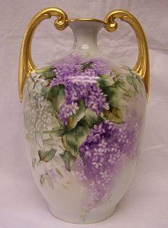 Rare, Huge, & Handsome Limoges  Muscle Vase w/ Splendid Draping Lavender & White Wisteria Flower Blossoms~Antique French Porcelain Artware at its Best!