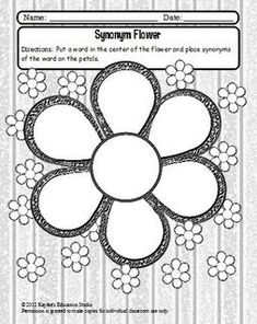 Place a word in the center of the flower and then put synonyms on the pedals. This graphic organizer is a quick activity to increase students vocabulary. If you would like to learn about more. Teaching Vocabulary, Teaching Language Arts, Classroom Language, Student Teaching, Teaching Reading, Vocabulary Games, Teaching Ideas, Synonym Activities, Word Study Activities