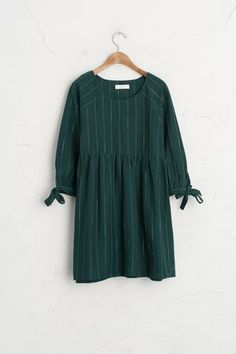 Tied Sleeves Stripe Dress, Green