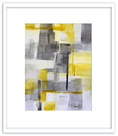 """Original watercolor abstract painting, Titled: 'Yellow Block' by Victoria Kloch, yellow and gray, 9"""" x 12"""""""