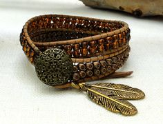 inspired wrap leather bracelet bohemian surfer style 2 two double wraps with brown glass copper floral faceted beads leaf pendants on Etsy, $30.00
