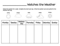 This is a weather watcher chart. This would be fun to laminate and have a student each week go up and write on the sheet what the weather is like each day. This allows the students to be aware of the weather. Teaching Weather, Preschool Weather, Weather Science, Weather Activities, Science Activities, Science Experiments, Spring Activities, Science Ideas, Math Games