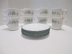 8 Corning Corelle Callaway Green Ivy Swirl Coffee Cups Tea Mugs And Saucers