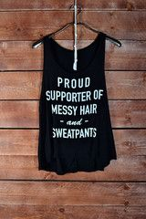 Messy Hair & Sweatpants Tank Top - Black - elle & k boutique Like this.