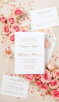 Gold wedding invitations with pink floral peony envelope liner for May wedding in Alabama. #pinkgoldwedding #peonywedding
