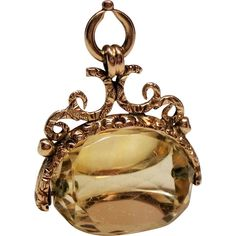 Antique Victorian Spinning Citrine 9C Gold Watch Fob Pendant Antique Jewelry, Vintage Jewelry, Lockets, Gold Fashion, Carat Gold, Ruby Lane, Gold Watch, Pendant Jewelry, Spinning