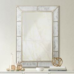 "Deaver Silver Champagne 28""x40"" Rectangular Wall Mirror"