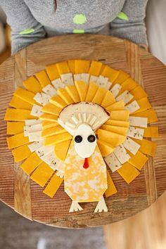 Turkey Shaped Cheese Tray Party Food Ideas for Kids