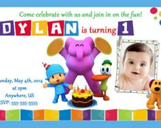 Pocoyo Birthday Party Invitations and supplies