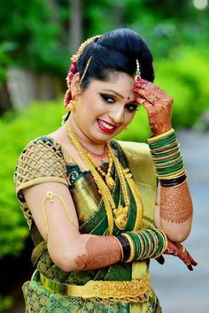 Beautiful Bridal Blouse Designs for South India - Indian Fashion Ideas | Indian Fashion Ideas Indian Wedding Poses, Indian Bridal Photos, Indian Wedding Couple Photography, Indian Bridal Fashion, Saree Blouse Neck Designs, Bridal Blouse Designs, Blouse Patterns, South Indian Bride, South Indian Actress