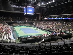 The view from our seats! Davis Cup, Bank Of America, Tennis, Basketball Court, Golf, Turtleneck