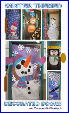 Winter Themed Decorated Classroom Doors in Early Elementary via RainbowsWithinReach