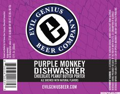 Evil Genius Purple Monkey Dishwasher Chocolate Peanut Butter Porter debuts this week - #craftbeer