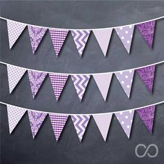 Purple Themed Triangle Bunting Banner Decoration Printable on Etsy, $5.00