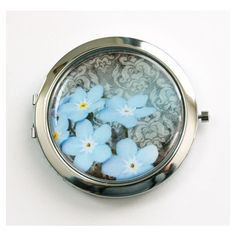 Flower Compact Mirror Mirror Purse Mirror Compact Mirror Flower Floral... ($16) ❤ liked on Polyvore featuring beauty products, beauty accessories, bath & beauty, hand & pocket mirrors, makeup & cosmetics, makeup tools & brushes and silver