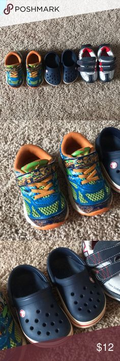 Baby boy shoes Three pairs, all size 5. Sold together in one price. One Croc pair, one New Balance and one ASICS: gently worn. Asics Shoes