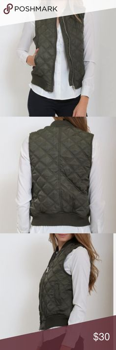 Olive quilted zip up vest NWT. SZ large. Top of your cool-weather look in cozy style when you don this quilted vest boasting a zip closure to ward off brisk breezes. 100% polyester Machine wash Jackets & Coats Vests