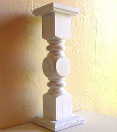 Shabby Chic White Cottage Style Wood Pedestal Candle Holder. $19.50, via Etsy.