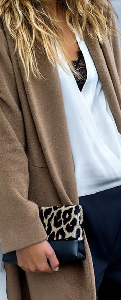 Street Style featuring camel coat, leopard skin clutch and white blouse. Simple does it.
