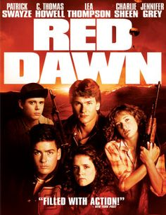 The original Red Dawn Patrick Swayze (Chris), C. Thomas Howell, Lea Thompson, Charlie Sheen and Jennifer Grey. 80s Movies, Action Movies, Great Movies, Movies To Watch, Patrick Swayze, Charlie Sheen, Love Movie, Movie Tv, Movie List