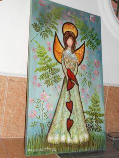 """ANGEL DE CORAZONES"", OLEO SOBRE MADERA, 70 X 40 CM., PINTADO POR MA. EUGENIA LARA LOPEZ."