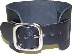 Black Wide Leather Watch Band with Adjustable by VillagePunk