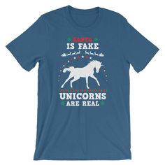Unicorn Ugly Christmas Sweater Shirt Santa is Fake Unicorns are real UNISEX T-Shirt Christmas Gift Real Unicorn, Cute Unicorn, Sweater Shirt, T Shirt, Matching Shirts, Sweater Fashion, Ugly Christmas Sweater, Fabric Weights, Unicorns