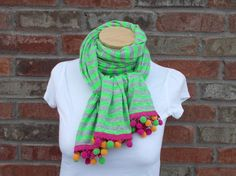 Extra Long Jersey Knit Scarf Green and Gray Stripes with Colorful Pom Pom Fringe