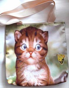 Cat kitten butterfly flower kitty shoulder handbag shopping tote zipper handmade #Handmade #ShoulderBag