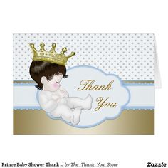 Prince Baby Shower Thank You Card