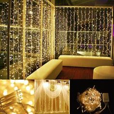 Image 16.4ft*2ft LED Curtain Icicle Lights String Connectable Christmas Warm White Image 1 of 7