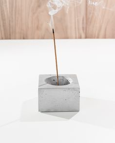 """Beautiful solid cast concrete incense burner looks great as a table centerpiece and catches all the ash from your favorite incense. Comes with a 1/8"""" hole in the center of the piece to hold all sized incense sticks or cones from small to large. Easy to clean with soap and water. Can be used indoor and outdoor."""