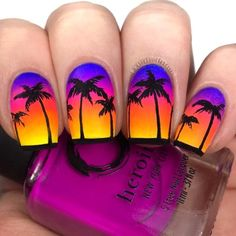 ☼ 𝐍𝐞𝐨𝐧 𝐆𝐫𝐚𝐝𝐢𝐞𝐧𝐭 𝐏𝐚𝐥𝐦 𝐓𝐫𝐞𝐞 𝐍𝐚𝐢𝐥𝐬 ☼ ⋆ -This is pretty much the epitome of summer nail art to me lol ⋆ 𝐏𝐨𝐥𝐢𝐬𝐡𝐞𝐬 𝐔𝐬𝐞𝐝: -UNT Peel Off Base Coat… Source by blufashw - Nail Swag, Best Acrylic Nails, Acrylic Nail Designs, Palm Tree Nails, Nails With Palm Trees, Cute Summer Nails, Spring Nails, Nail Summer, Pink Summer
