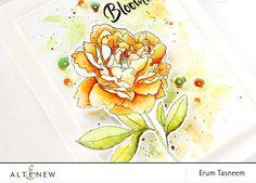 Altenew Peony Spray Stamp Set Watercoloured   Erum Tasneem   @pr0digy0   @altenew
