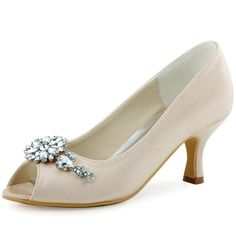 """ElegantPark HP1541 Women Peep Toe Pumps Leaf Rhinestones Comfort Heel Satin Wedding Bridal Dress Shoes Champagne US 8. Heel Height:2.5"""". Size Tips:According to the experience from other customers, this style shoes run big, pls choose one-half or one smaller size then your usual. Style: Women Satin Pumps Shoes. Embellishment:Rhinestones."""