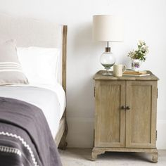 Stockholm bedside table buy online now from rose grey eclectic french style aimee bedside table hand carved from solid oak with lovely weathered finish watchthetrailerfo