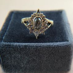 Salt and pepper diamond ring with yellow gold setting - alternative bridal