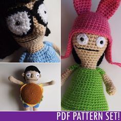 Tina, Gene and Louise Belcher pattern by Heather Jarmusz bob's burgers