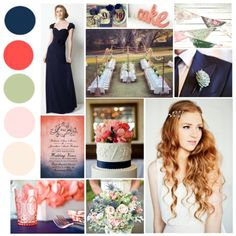 I am loving navy, coral, and gray for my reception decor. This has a few added colors that are nice.