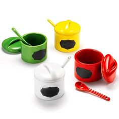 Adorable color-coded containers hold everything you need, from all the condiments at the cookout to all your must-have piece sin your pantry.FEATURES• 4 piece ceramic multi-purpose containers with chalkboard front• Each container with spoon• The containers do not come personalized already; this will need to be done by the consumer with chalk• Each set includes one red, green, yellow, and white container with a black chalkboard section on the front• They each have lid... AvonRep shirlean…