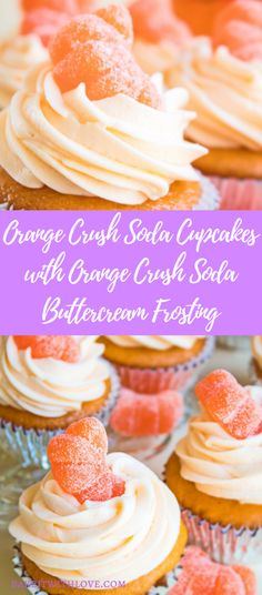 These delightfully fruity Orange Crush Soda Cupcakes with Orange Crush Soda Buttercream Frosting are made from scratch and packed with citrus flavor in every bite of the cupcakes! BakeItWithLove.com | #orangecrushsoda #orangecrushcupcakes #orangecrushbuttercream #buttercreamfrosting #orangecreamsicle