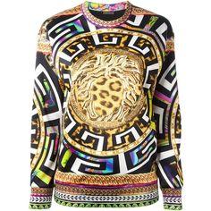 Versace Leo Neoprene Sweatshirt (2.835 BRL) ❤ liked on Polyvore featuring tops, hoodies, sweatshirts, sweaters, jumper, versace, multicolour, neoprene top, round neck top and versace sweatshirt