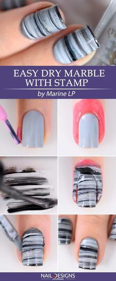 5 Easy Tutorials: Different Nail Designs Step-by-Step ❤ Easy Dry Marble with Stamp Different nail designs are the inevitable part of life of every modern woman. Sometimes to be different, you do not need to go to the salon! Intrigued? https://naildesignsjournal.com/different-nail-designs-easy-tutorials/ #naildesignsjournal #nails