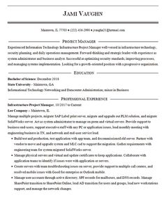 View this IT Project Manager Resume Template for a professional with experience in information systems infrastructure projects. Resume Template Examples, Job Resume Examples, Simple Resume Template, Resume Design Template, Resume Tips, Cv Tips, Resume Ideas, Cv Template, Sample Resume