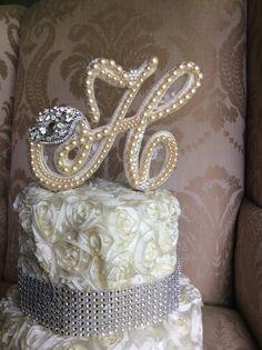 custom monogram pearl  wedding cake toppers  by TheCrystalFlower