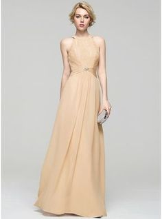 f8ac6691ed98 A-Line Princess Scoop Neck Floor-Length Chiffon Lace Evening Dress With  Ruffle