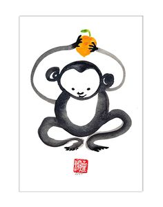Monkey, Chinese Zodiac, Happy New Year of the Monkey 2016, Sumi Zen Painting, zen decor, japan illustration, childrens art, taoist feng shui by ZenBrush on Etsy https://www.etsy.com/listing/264565692/monkey-chinese-zodiac-happy-new-year-of