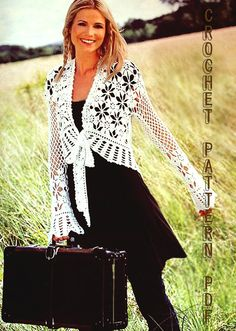 Crochet Woman cardigan Pattern only with written instruction and Charts, easy to follow in PDF FILES